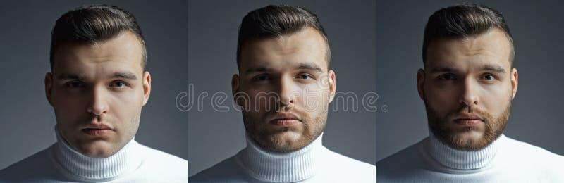 Grupo farpado do homem Barba longa Grupo da barbearia do cabeleireiro do penteado A colagem de equipa o retrato da cara Homem con imagem de stock royalty free