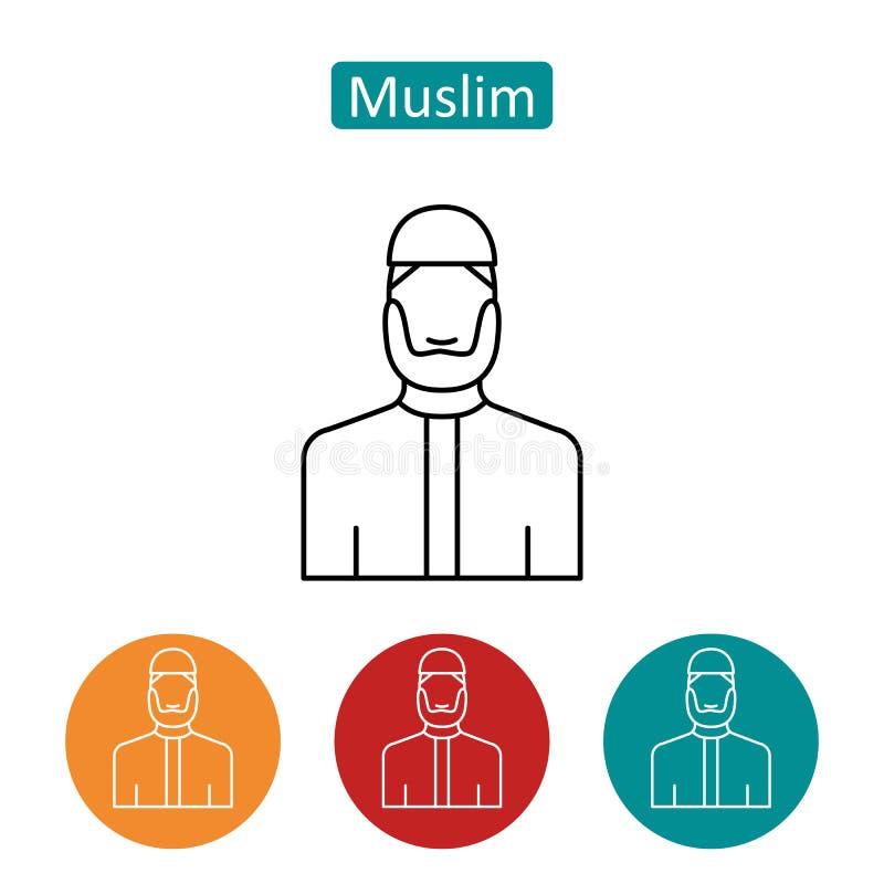 Grupo farpado muçulmano dos ícones do esboço do homem ilustração stock