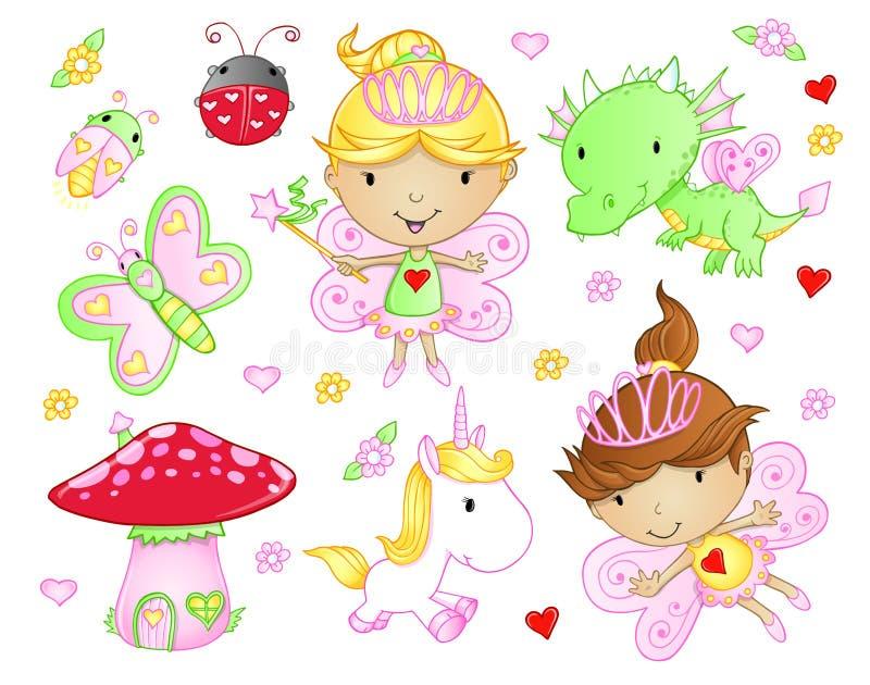Grupo feericamente bonito da princesa ilustração royalty free