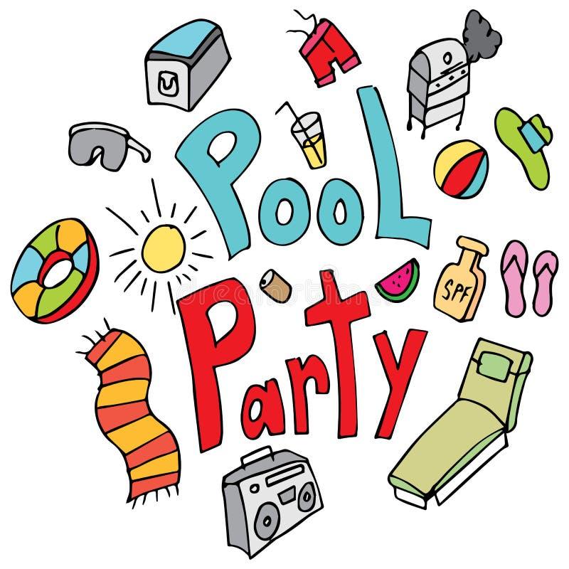 Grupo feito a mão do desenho da festa na piscina ilustração royalty free