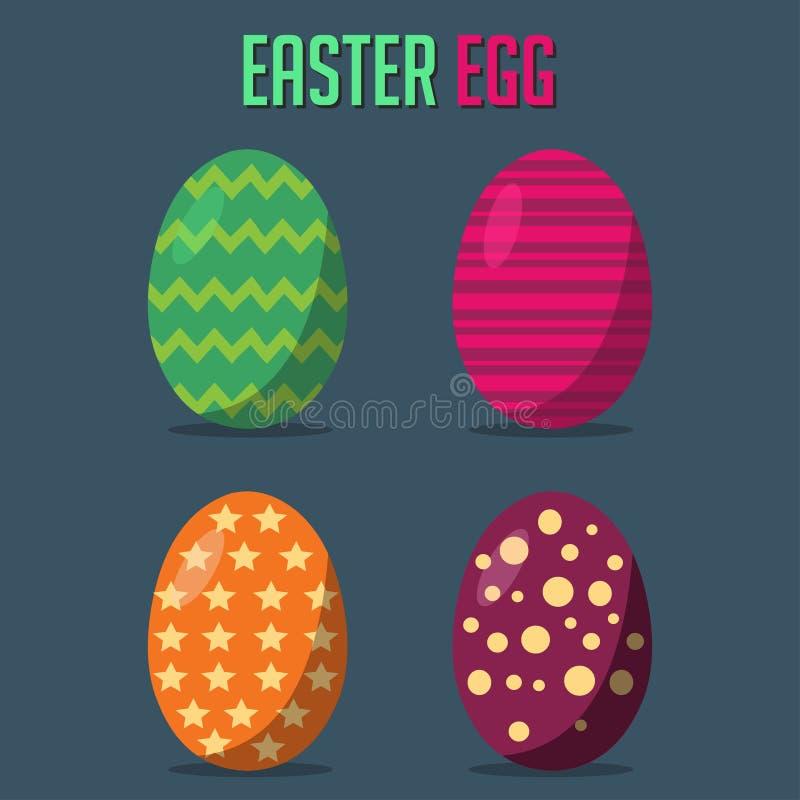 Grupo feliz da coleção da Páscoa Ajuste dos ovos da páscoa com ilustração diferente da textura ilustração stock