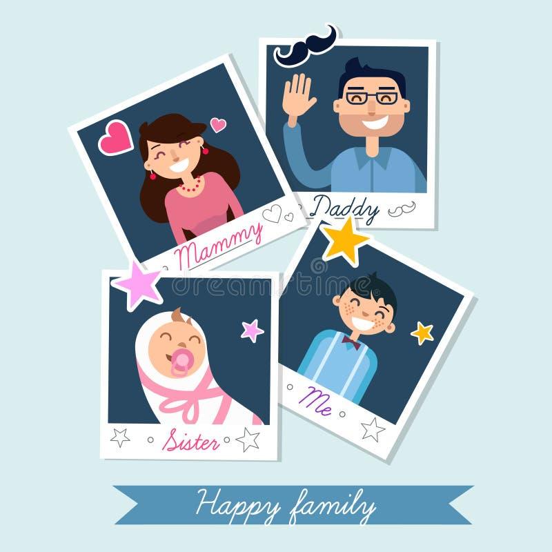 Grupo feliz da família de quadros da foto do Polaroid ilustração royalty free