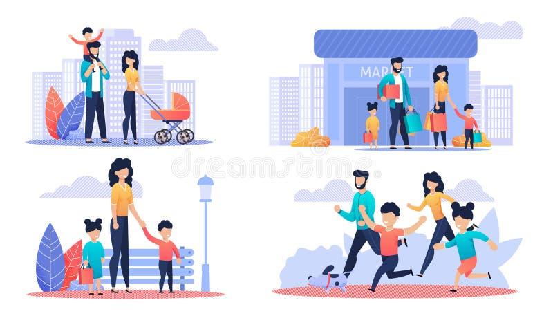 Grupo feliz da ilustração dos desenhos animados do dia livre da família ilustração stock