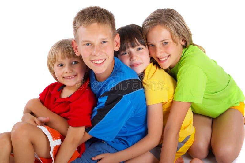 Grupo feliz de crianças imagens de stock royalty free