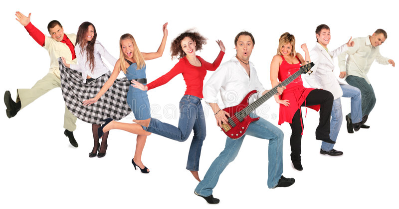 Grupo feliz de dança dos povos imagens de stock royalty free