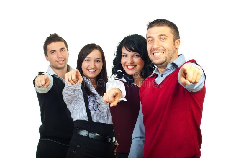 Grupo feliz de la gente que señala a usted foto de archivo libre de regalías