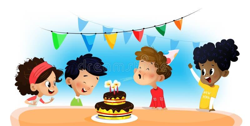 Grupo feliz de niños que se divierten en la fiesta de cumpleaños libre illustration