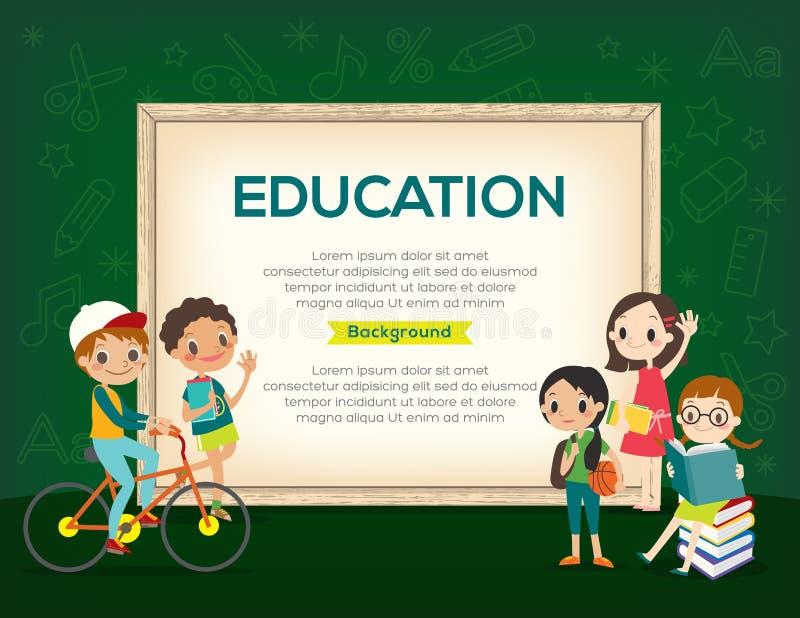 Grupo feliz de plantilla del fondo de la educación de los niños ilustración del vector