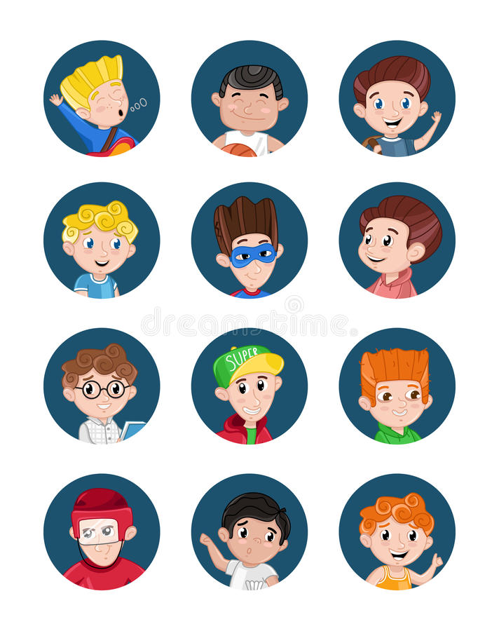 Grupo feliz do ícone do avatar dos rapazes pequenos ilustração stock
