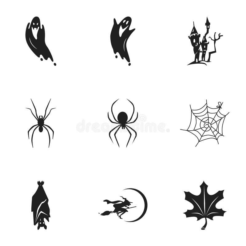Grupo feliz do ícone do Dia das Bruxas, estilo simples ilustração stock