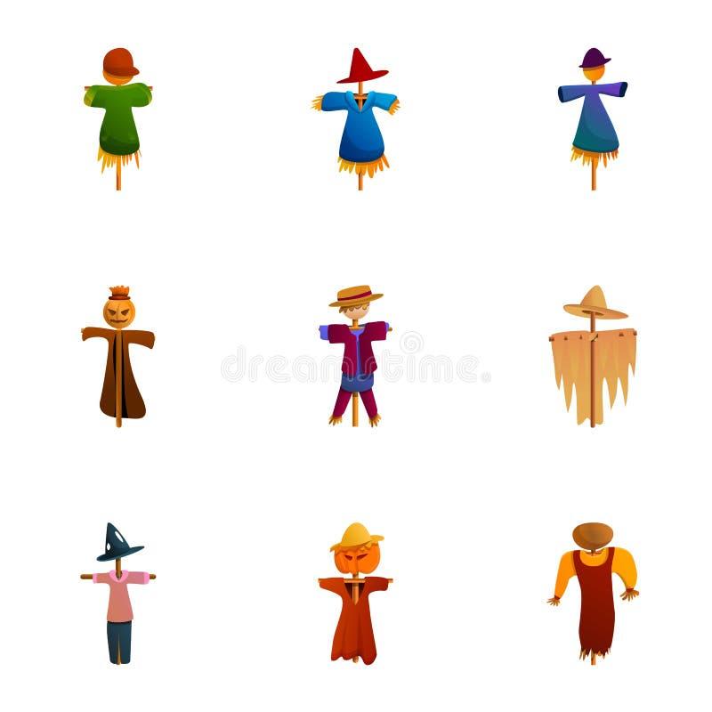 Grupo feliz do ícone do espantalho, estilo dos desenhos animados ilustração stock