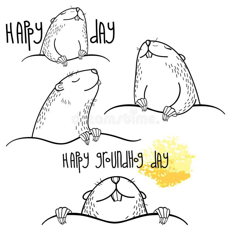 Grupo feliz do dia de Groundhog do vetor com o groundhog bonito do esboço ou a marmota ou a marmota no preto isolado no fundo bra