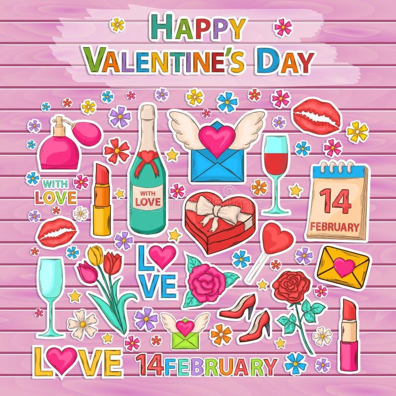 Grupo feliz do dia de Valentim etiqueta ilustração royalty free
