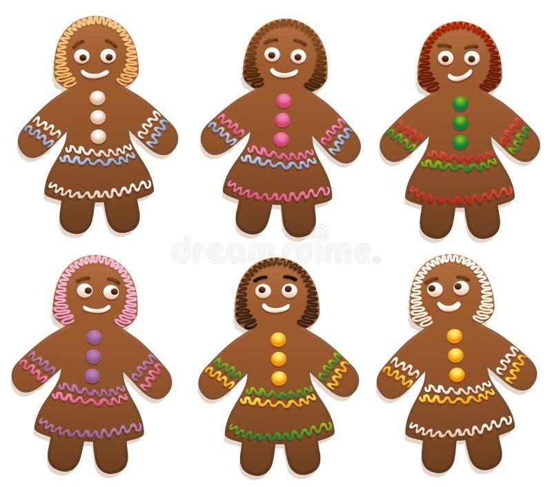 Grupo femenino de las mujeres del pan de jengibre libre illustration