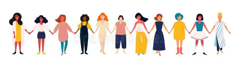 Grupo femenino diverso Equipo de mujeres africano, mexicano, indio, europeo Poder de las muchachas Grupo de amigos sonrientes fel stock de ilustración