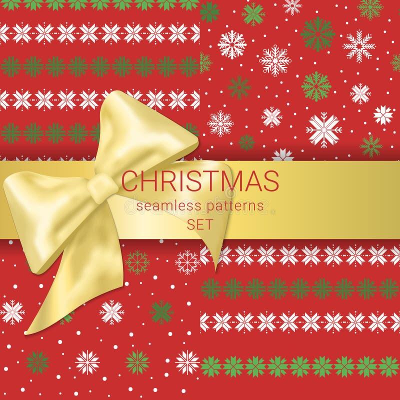 Grupo festivo de fita decorada do ouro do Natal testes padrões sem emenda com curva ilustração stock