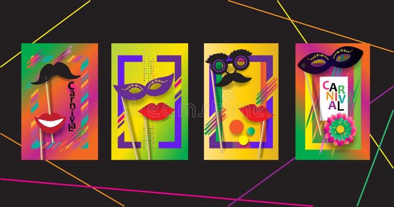 Grupo festivo Mardi Gras dos cartazes de RIO Carnival, molde brasileiro do sinal do festival ilustração do vetor