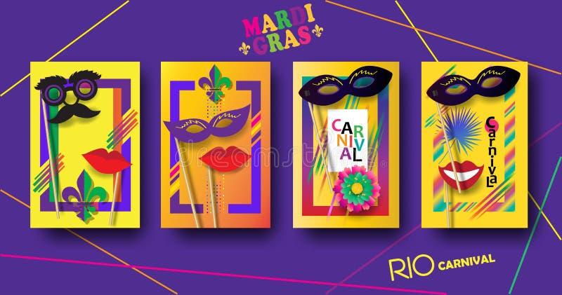 Grupo festivo Mardi Gras dos cartazes de RIO Carnival, molde brasileiro do sinal do festival ilustração stock