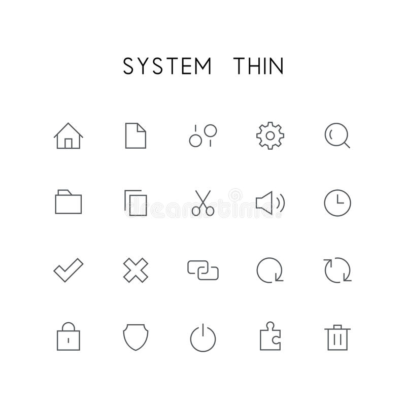 Grupo fino do ícone do sistema ilustração royalty free