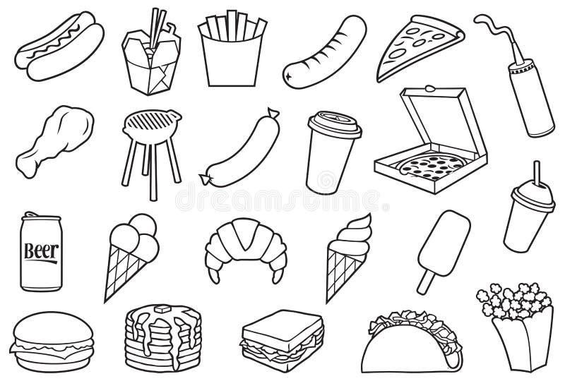 Grupo fino dos ícones do fast food ilustração royalty free