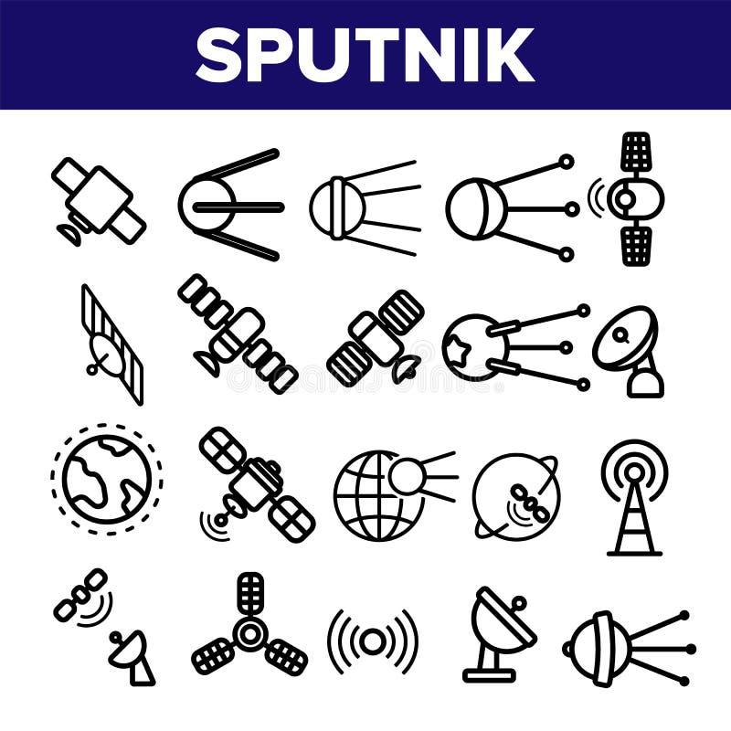Grupo fino dos ícones do vetor linear orbital do esputinique ilustração stock