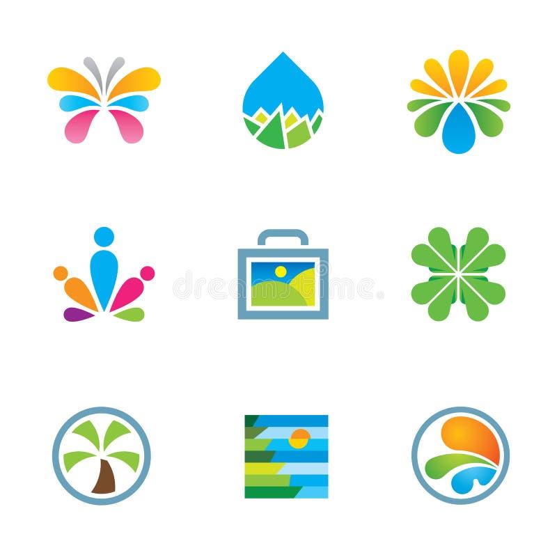 Grupo floral colorido do ícone do logotipo da experiência do curso da arte do respingo da natureza ilustração royalty free