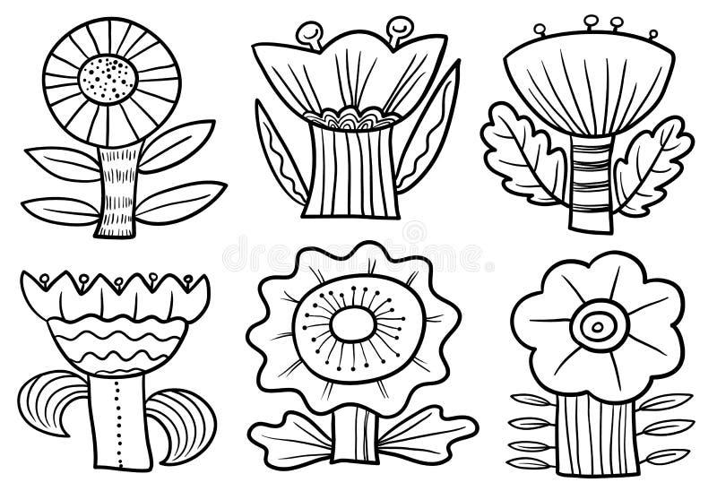 Grupo floral da garatuja Cole??o com flores e as folhas abstratas Ilustra??o do vetor fotos de stock royalty free