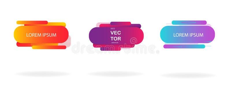Grupo fluido dos crachás da cor Vetor Eps10 ilustração stock