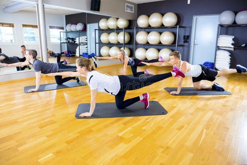Grupo focalizado que exercita a força e o equilíbrio do núcleo no gym da aptidão imagem de stock royalty free