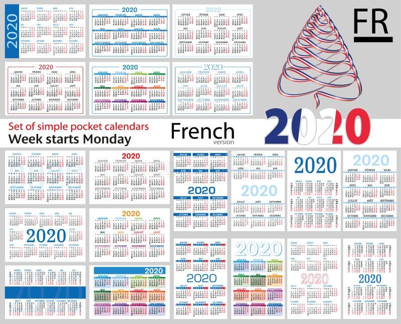 Grupo francês de calendários do bolso para 2020 ilustração stock