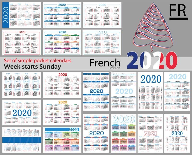 Grupo franc?s de calend?rios do bolso para 2020 ilustração do vetor