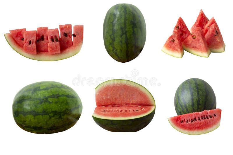Grupo fresco da melancia isolado no fundo branco foto de stock royalty free