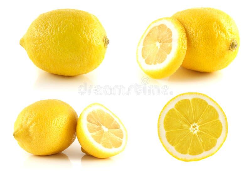 Grupo fresco do limão, isolado no fundo branco. foto de stock royalty free