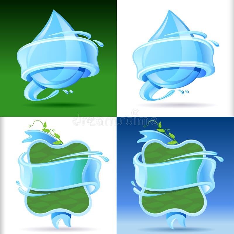 Grupo fresco e da água gasosa de etiqueta ilustração royalty free