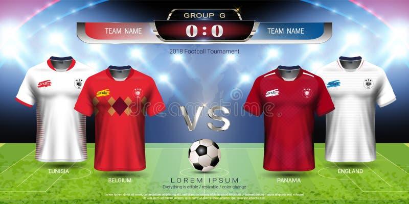 Grupo G, jersey del equipo de la taza 2018 del fútbol de fútbol con la maqueta del marcador stock de ilustración