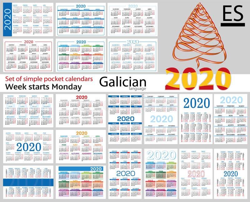 Grupo galego de calendários do bolso para 2020 ilustração stock