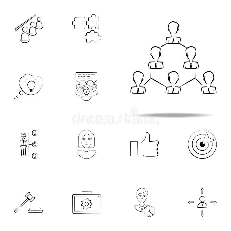 grupo, gente, icono exhausto de la mano del equipo Sistema universal de los iconos del negocio para el web y el móvil libre illustration