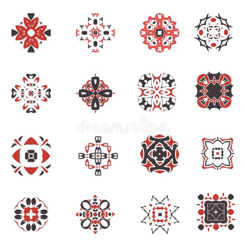 Grupo geométrico abstrato do ícone Símbolos árabes decorativos do estilo do vetor Coleção quadrada do projeto ilustração stock