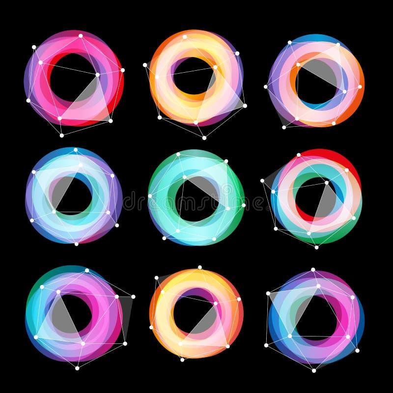 Grupo geométrico abstrato incomum do logotipo do vetor das formas Coleção colorida circular dos logotypes no fundo preto ilustração royalty free