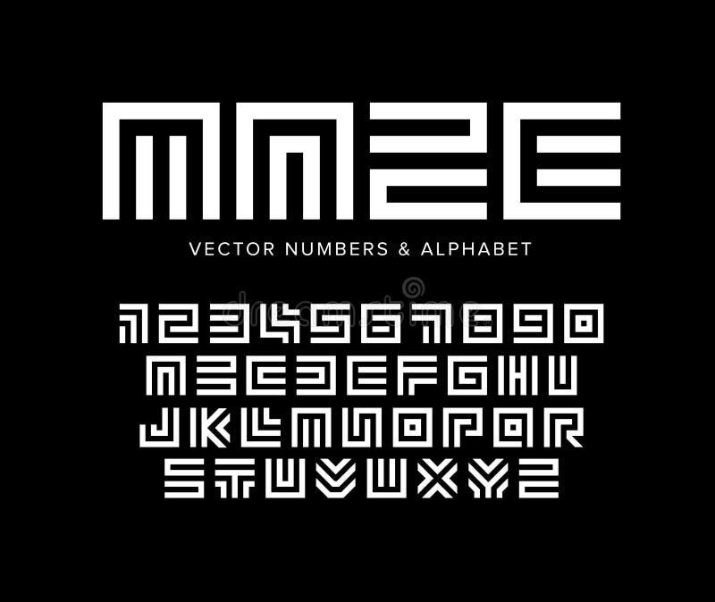 Grupo geométrico das letras e dos números do vetor Alfabeto do labirinto Molde branco do logotipo no fundo preto Projeto da tipog ilustração stock