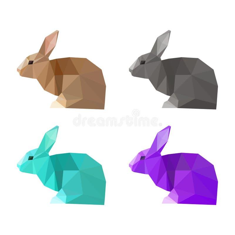 Grupo geométrico do coelho do triângulo poligonal abstrato isolado no fundo branco para o uso no projeto ilustração royalty free