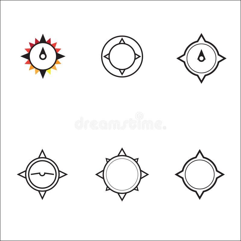 Grupo geométrico do logotipo do vetor da estrela do compasso ilustração stock