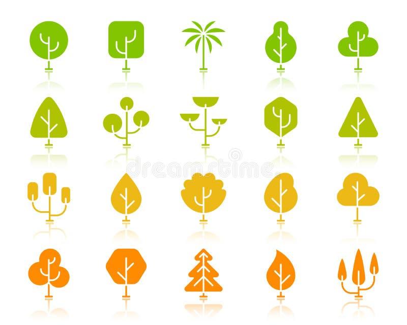 Grupo geométrico do vetor dos ícones da silhueta da cor das árvores ilustração stock