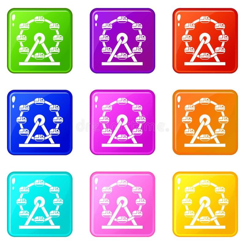 Grupo gigante dos ícones 9 da roda de ferris ilustração stock