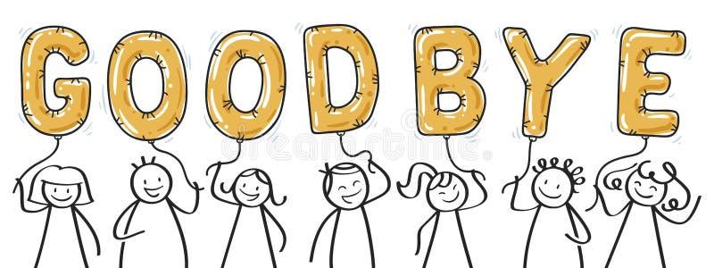 Grupo GOODBYE De Figuras De Palos Sosteniendo Letras De Globo Dorado,  Saludo, Los Niños Dicen Adiós Ilustración del Vector - Ilustración de  globo, sosteniendo: 158749409