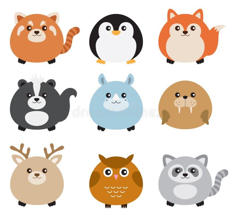 Grupo gordo bonito do animal ilustração stock