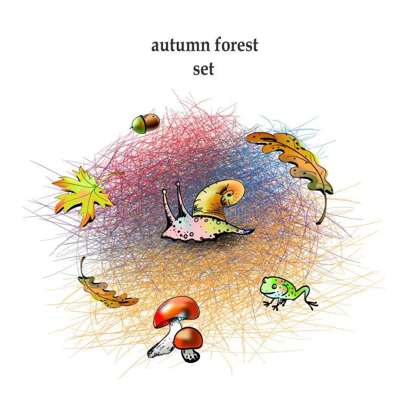 Grupo gráfico da floresta do outono ilustração do vetor