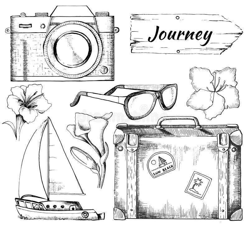 Grupo gráfico do esboço com oito objetos para o curso ilustração royalty free