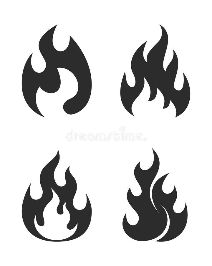 Grupo gráfico dos ícones da chama Sinais simples ilustração do vetor