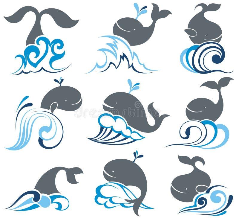 Grupo grande com baleias e ondas do mar ilustração stock